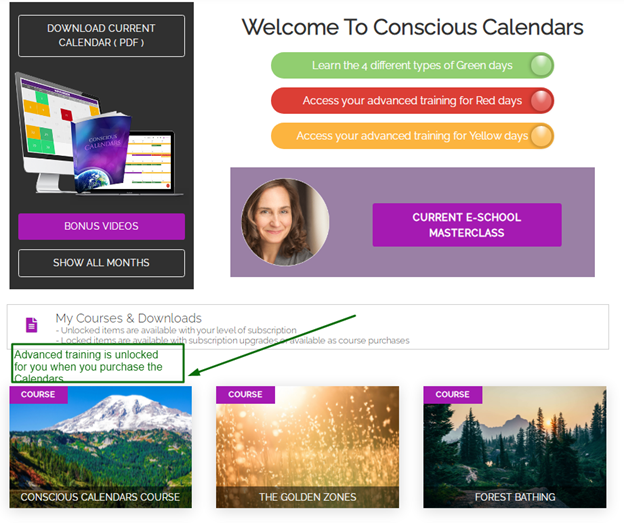 Conscious Calendars Course unlocked